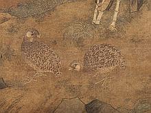 After Xu Xi (885-975), Scroll Painting 'Quails', China 17/18thC
