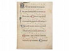 Magnificently Illuminated Manuscript from an Antiphonary, 1450