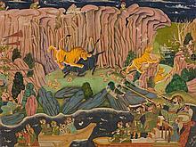 Miniature, Maharao Ram Singh II Hunting Tigers, Kotah, 19th C.