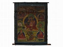 Thangka of Milarepa with Hierarchs and Deities, 19th C.