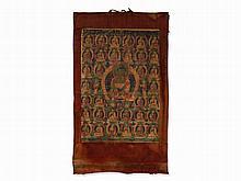 Thangka with Buddha Shakyamuni in the Center, 19th C.