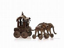 Bronze Temple Carriage Pulled by Elephants, 19th/20th C.