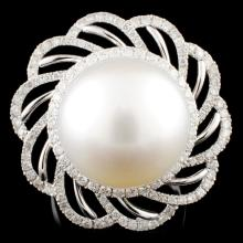 18K Gold 15.00MM Pearl & 1.02ctw Diamond Ring