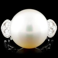 18K Gold 14.50mm Pearl & 0.71ctw Diamond Ring