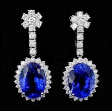 18K Gold 10.09ct Tanzanite & 1.68ct Diamond Earrin