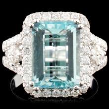 18K Gold 4.25ct Aquamarine & 0.88ctw Diamond Ring