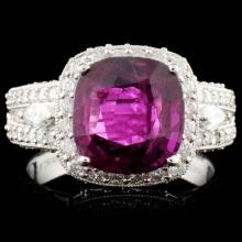 *GIA 18K Gold 3.71ct Ruby & 1.39ctw Diamond Ring
