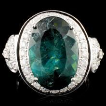 14K Gold 6.84ct Tourmaline & 0.79ctw Diamond Ring