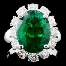 14K Gold 4.06ct Emerald & 1.45ctw Diamond Ring