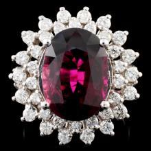 14K Gold 6.40ct Tourmaline & 1.30ctw Diamond Ring