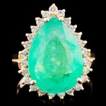 14K Gold 5.14ct Emerald & 0.53ctw Diamond Ring