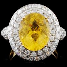 14K Gold 4.05ct Tourmaline & 2.07ct Diamond Ring
