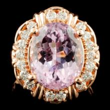 14K Gold 4.92ct Kunzite & 0.43ctw Diamond Ring