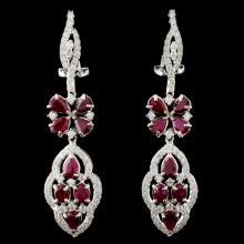 18K White Gold 4.15ct Ruby & 1.27ct Diamond Earrin