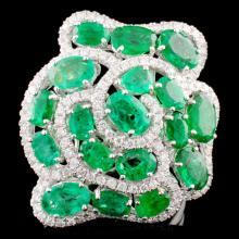 18K Gold 5.91ct Emerald & 0.84ctw Diamond Ring