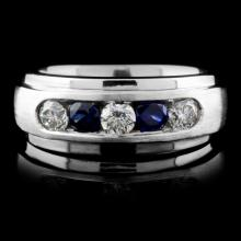 Solid Platinum 0.52ct Sapphire & 0.67ct Diamond Ri