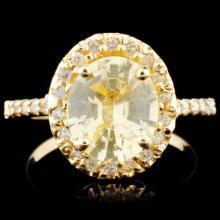 14K Gold 2.11ct Sapphire & 0.25ctw Diamond Ring