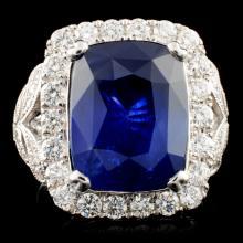 18K Gold 13.40ct Sapphire & 1.57ctw Diamond Ring