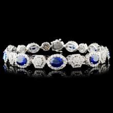 18K Gold 9.13ctw Sapphire & 3.16ctw Diamond Bracel