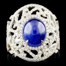 18K Gold 5.39ct Sapphire & 0.95ctw Diamond Ring