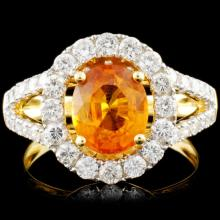 18K Gold 2.13ct Sapphire & 1.05ctw Diamond Ring