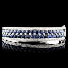 14K Gold 10.41ct Sapphire & 0.79ctw Diamond Bangle