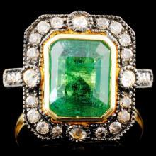 18K Gold 2.76ct Emerald & 0.45ctw Diamond Ring