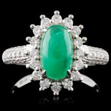 18K White Gold 1.84ct Emerald & 0.62ct Diamond Rin