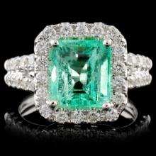 18K White Gold 2.74ct Emerald & 1.08ct Diamond Rin