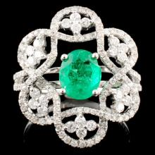 18K Gold 1.03ct Emerald & 0.81ctw Diamond Ring