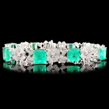 18K Gold 17.70ct Emerald & 2.16ctw Diamond Bracele