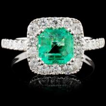 18K Gold 1.14ct Emerald & 0.81ct Diamond Ring