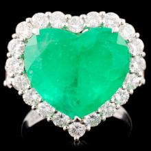 18K Gold 7.70ct Emerald & 2.24ctw Diamond Ring
