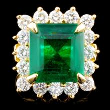 18K Gold 6.62ct Emerald & 1.81ctw Diamond Ring