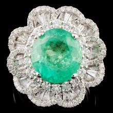 18K Gold 4.31ct Emerald & 1.56ctw Diamond Ring