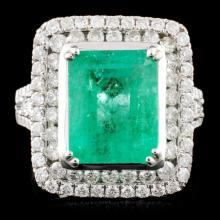 18K Gold 4.25ct Emerald & 1.39ctw Diamond Ring