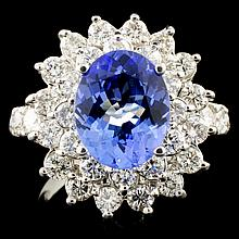 14K Gold 2.51ct Tanzanite & 1.64ctw Diamond Ring