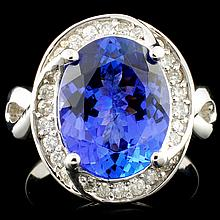 14K Gold 5.46ct Tanzanite & 0.55ctw Diamond Ring