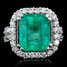18K Gold 6.67ct Emerald & 1.35ct Diamond Ring