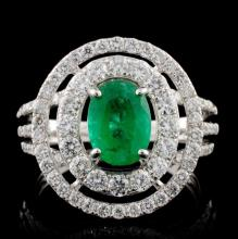 14K White Gold 1.15ct Emerald & 1.14ct Diamond Rin