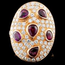 18K Gold 2.47ct Ruby & 2.32ct Diamond Ring