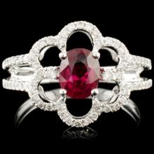18K Gold 0.99ct Ruby & 0.31ctw Diamond Ring
