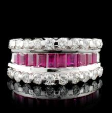 18K White Gold 1.66ct Ruby & 0.86ct Diamond Ring