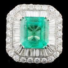 18K Gold 7.27ct Emerald & 3.62ctw Diamond Ring