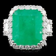 18K Gold 9.12ct Emerald & 1.75ct Diamond Ring