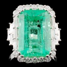 18K Gold 9.32ct Emerald & 1.31ctw Diamond Ring