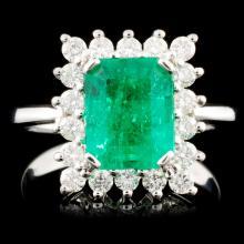 18K Gold 2.28ct Emerald & 0.57ctw Diamond Ring