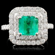 18K White Gold 1.63ct Emerald & 0.98ct Diamond Rin