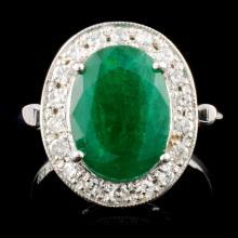14K Gold 3.89ct Emerald & 0.39ctw Diamond Ring