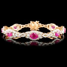 18K Rose Gold 6.69ct Ruby & 4.26ctw Diamond Bracel